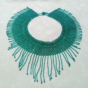 Iridescent Green Woven Seed Bead Bib Necklace
